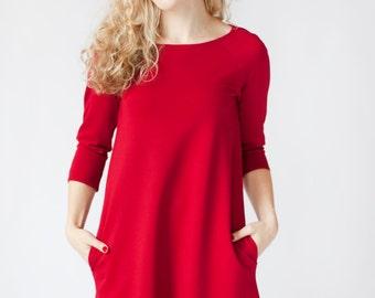 Red midi dress for women, red long sleeve dress, quarter sleeve dress with pockets, simple dress, knee length casual dress knit jersey dress