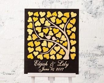 Wedding Guest Book Alternative Wedding 3D guest book Wood Rustic wedding guestbook Love Birds Wedding Tree of Hearts Wedding Yellow