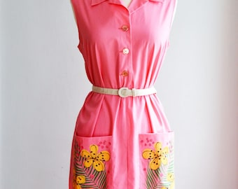 1940's/50's Handpainted Spring Dress by Princess Peggy/Waist