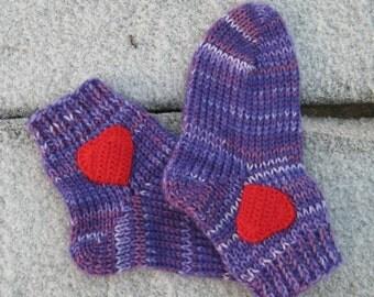 Knit socks Purple stripes socks Men socks Women socks Wool gift for him Red heart love gift for dad Lilac gift Valentine Warm socks for mom