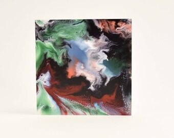 Red Abstract Art Card - Green Abstract Art - Resin Art - Blank Card - Ruby Anniversary - Emerald Anniversary - Birthday Card - Art Lover