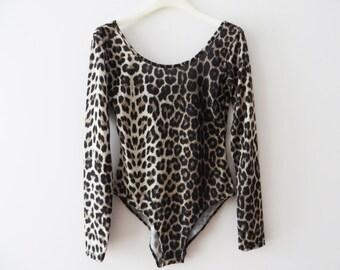Animal Print Leotard Leopard Bodysuit Elastic Bodysuit Brown Long Sleeve Leotard Women Deep Cut Back Cheetah Bodysuit Medium Dance Bodysuit