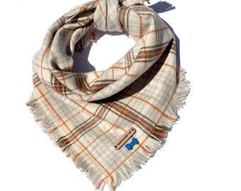 Puppy bandana, plaid dog bandana, soft dog bandanas, brown plaid flannel, cat bandana, flannel dog bandana, puppy clothes: ANCHORAGE