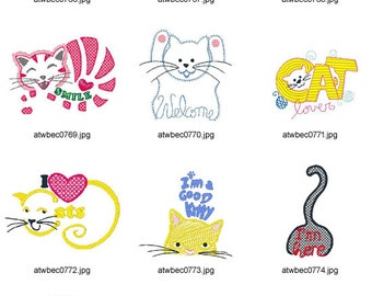 I-Love-Cats ( 10 Machine Embroidery Designs from ATW )