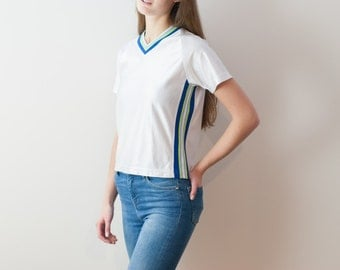 90s Vintage V-neck T-shirt, Shiny, Jersey Navy/ Lime Green/ Baby Blue Striped