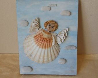 Angelito. Stones and shells, box Assembly artistic, natural materials, picture wall, unique, gift, Christmas