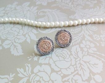 Golden earrings Soutache earrings Small round earrings Studs earrings Hand embroidered earrings Soutache jewelry Handmade Earrings