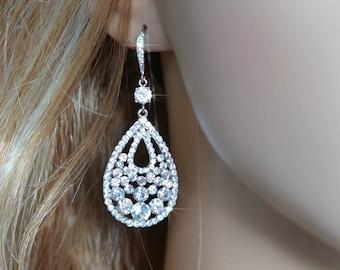 LAST ONE Handmade Vintage Inspired Crystal Rhinestone & CZ Bridal Dangle Chandelier Earrings, Bridal, Wedding (Sparkle-1458)