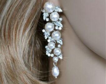 Vintage Inspired Crystal Rhinestone and Pearl Chandelier Earrings, Bridal, Wedding (Pearl-123)