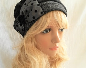 """""""Glamour"""" beret with big bow with polka dots retro spirit"""