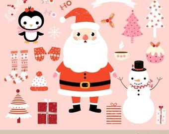 Kawaii Christmas Clipart Images Cute Clip Art Set Santa Graphic