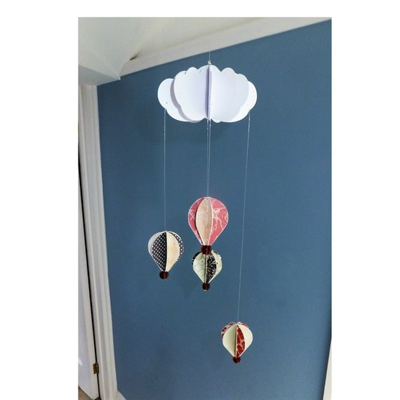 Diy Papercraft Hot Air Balloon Mobile Diy Craft Kit Diy Home Decor Mini Mobile From Fantasyforestdesigns On Etsy Studio