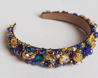 Beaded blue gold headband adult Classic crystal crown Baroque headband Bridal tiara Beach wedding crown Blue Tiara Navy Dolce headband