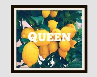 Beyonce Inspired Lemonade Queen Home Decor Wall Art Modern Decor College Dorm Room Print Black Art Dorm Decor Black Girl Self Love