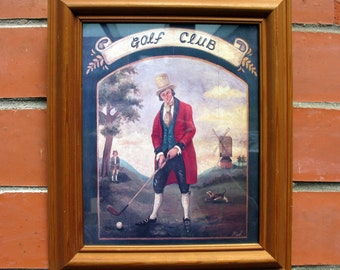 Vintage Golf Club / Original Art Print / Gentleman Plays Golf / Gift For Golfer / Golf Club Decor / Golf Gift / Man Cave / Golf Print / Golf