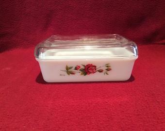 SALE Pyrex JAJ Brio Rose Butter Dish 1963