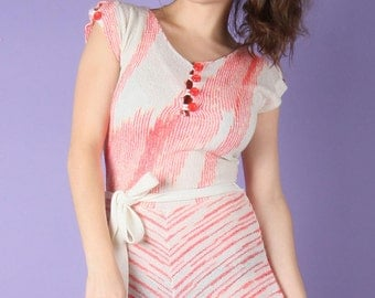 70s Vintage Infra-Red Striped Terry Dress