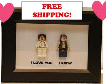 Lego I Love You I Know Framed Han Leia Star Wars Mini Figures I Love You I Know Minifigures Wedding Anniversary Personalized UK USA Canada A