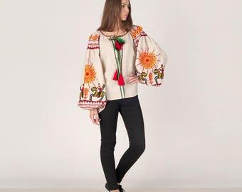"Ukrainian vyshyvanka blouse ""Cossacks"" in natural gray - 100% linen with handmade embroidery - boho chic ethnic folkloric - modern folk"