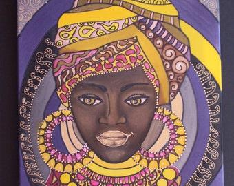 Original painting on silk,Batik painting,Wall hanging,Painted silk,Silk art, painted silk, African woman,Woman Original painting,Woman  head