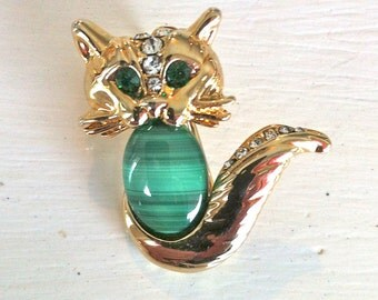 Vintage Gold Cat Brooch with Malachite Body/Vintage Gold Cat Brooch/Retro Gold Cat Brooch/Vintage Gold Cat Pin/Malachite Brooch/Gold Cat