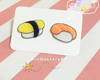Kawaii Sushi Handmade Stud Earrings, Cute Sushi Studs, Cute Food Earrings, Sushi Roll Earrings, Mismatched Food Earrings, Gift for Her