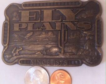 Vintage Metal Brass Belt Buckle, Fly Plains, Since 1878, Brass Belt Buck, Country, Western Wear, Cowboy, Western Theme, Vintage Belt Buckle