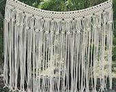 "Macrame Wedding Backdrop Arch Bohemian Wall Hanging Window Covering Headboard Curtain ""Romantica"""