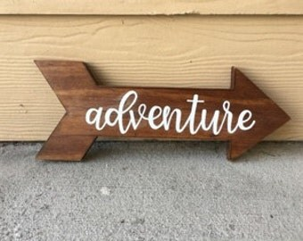 Adventure Wood Sign | Wood Arrow | Custom Wood Sign | Baby Name Sign | Nursery Decor | Home Decor