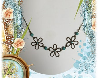 Vintaj Brass Flower Necklace