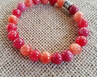 Red Quartz Bracelet, Quartz Bracelet, Quartzite Bracelet, Natural Bracelet, Red Stone Bracelet, Red Quartzite Bracelet, Red Stretch Bracelet