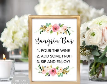 Sangria Bar Sign, Bridal Shower Sangria Bar Sign, Baby Shower Sangria Bar Sign, Printable Sangria Bar Sign, Sangria Bar Instant Download