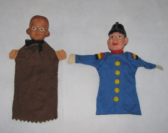Hand PUPPETS couple German puppets police officer and girl women retro hairstyle set of 2 puppets