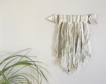 Wood Arrow Wall Hanging Arrow Wall Decor Yarn Wall Hanging Yarn Art Yarn Wall Decor Baby Girl Nursery Decor Baby Boy Nursery Gender Neutral