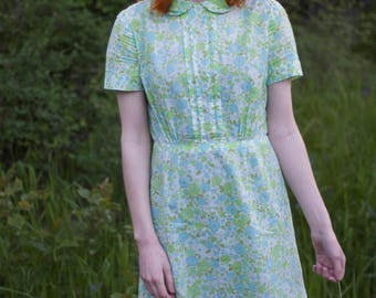 1960s Dress / Pastel Green & Blue Floral Print / Summer Soft Cotton Dress / Peter Pan Collar / Vintage 60s