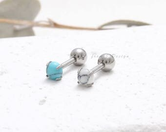 Tiny Turquoise or White Howlite Cabochon Barbell Ear Piercing, Marble Cartilage Piercing-16G