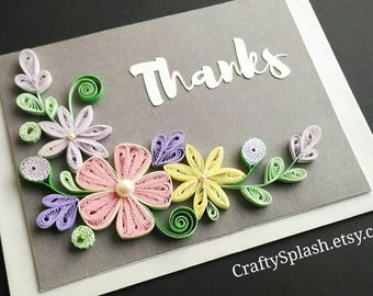 Thank you card - Floral thanks card - Thank you gift - Quilling Art.