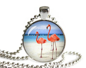 Flamingos Round Pendant with Necklace Flamingo Jewelry Flamingo Necklace