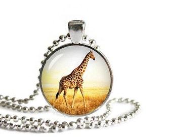 Giraffe Pendant Necklace with a ball chain Giraffe Jewelry Giraffe Necklace