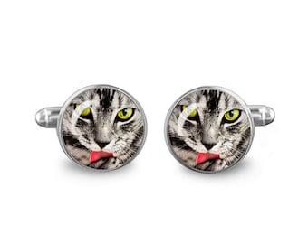 Cat Cuff Links 16mm Cufflinks Gift for Men Groomsmen Novelty Cuff links Fandom Jewelry