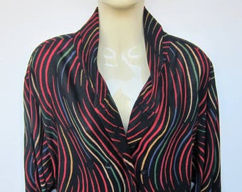 LANVIN Paris vintage 1980s graphic black multicolor shirt