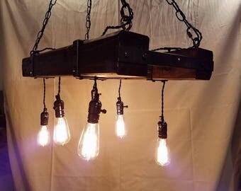 Rustic Reclaimed Edison Bulb Chandelier