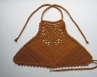 Crochet Boho Halter Crop Top / Festival Style - Custom Made