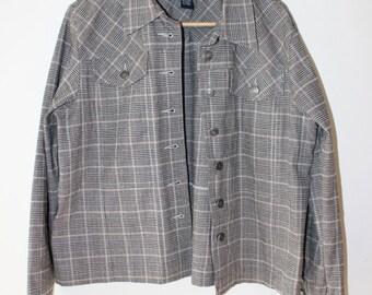 Vintage Plaid denim jacket Denim & Co. size L