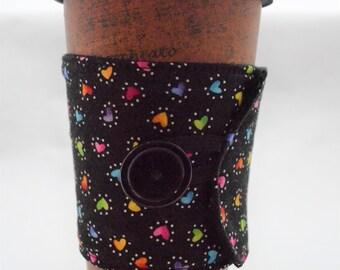 Rainbow Hearts Coffee Sleeve - Coffee Cozy - Reusable - Fabric