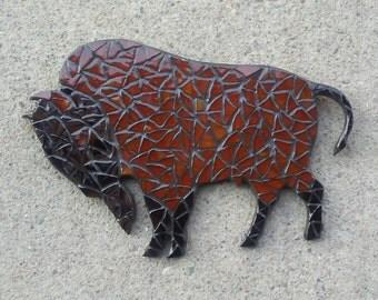 Glass Mosaic Wall Art, Bison/Buffalo