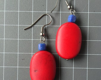 Cool Red and Blue Earrings