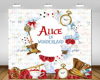 Printable Alice in Wonderland Backdrop, Alice in Wonderland Birthday Party, 1st Birthday, Baby Shower, Birthday Party Decor, Poster, Banner