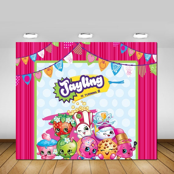 Shopkins Birthday Banner Shopkins Party Banner: Printable Shopkins Party Backdrop Shopkins Birthday Party