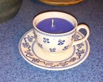 Tea Cup Candle/ Pomegranate Scented Candle/ Teacup Candle